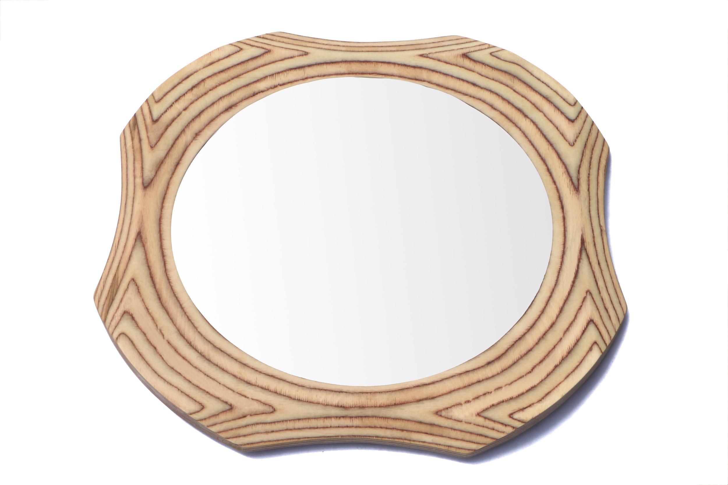 Surrey woodsmith round wooden mirror