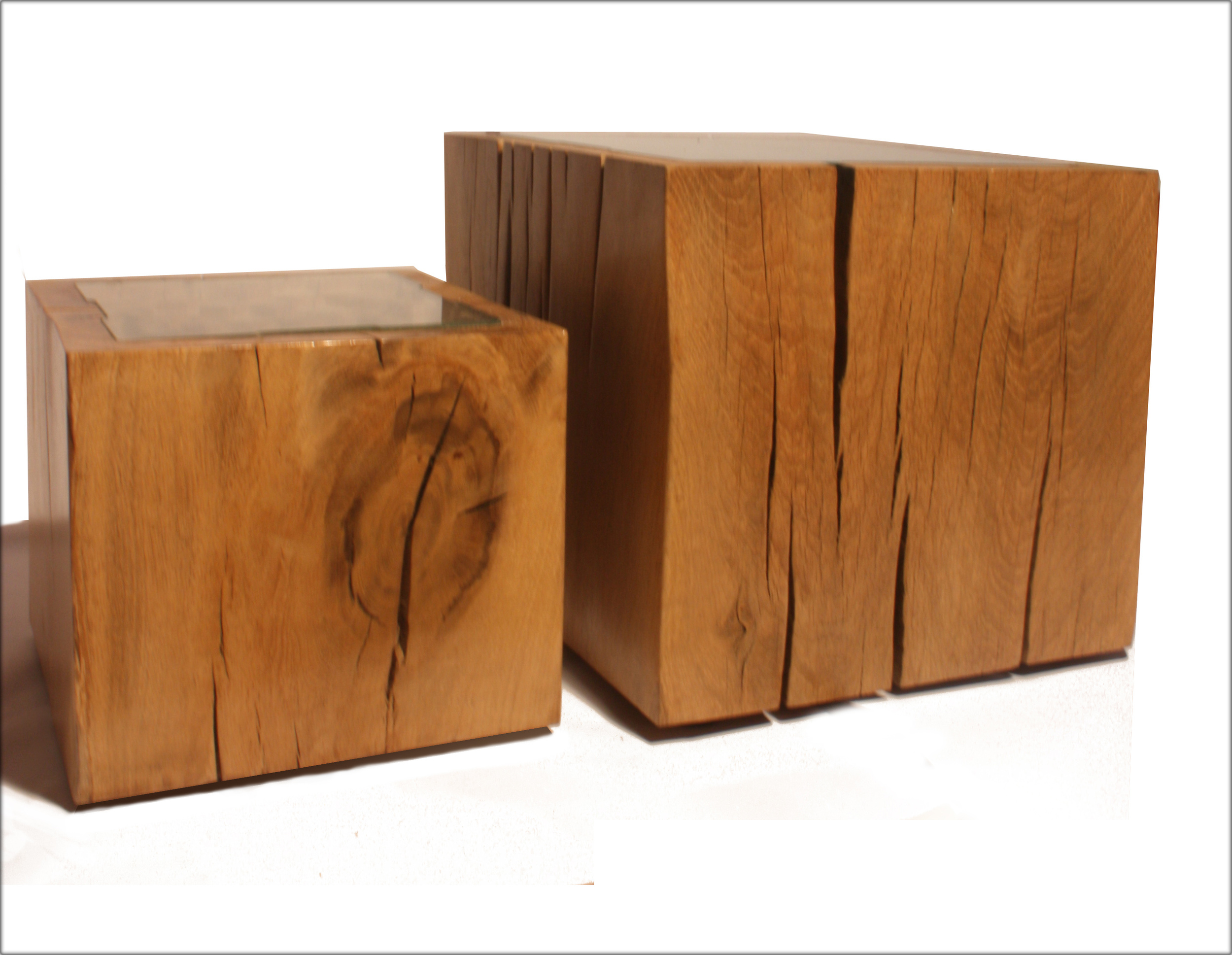 Solid oak cube coffee table