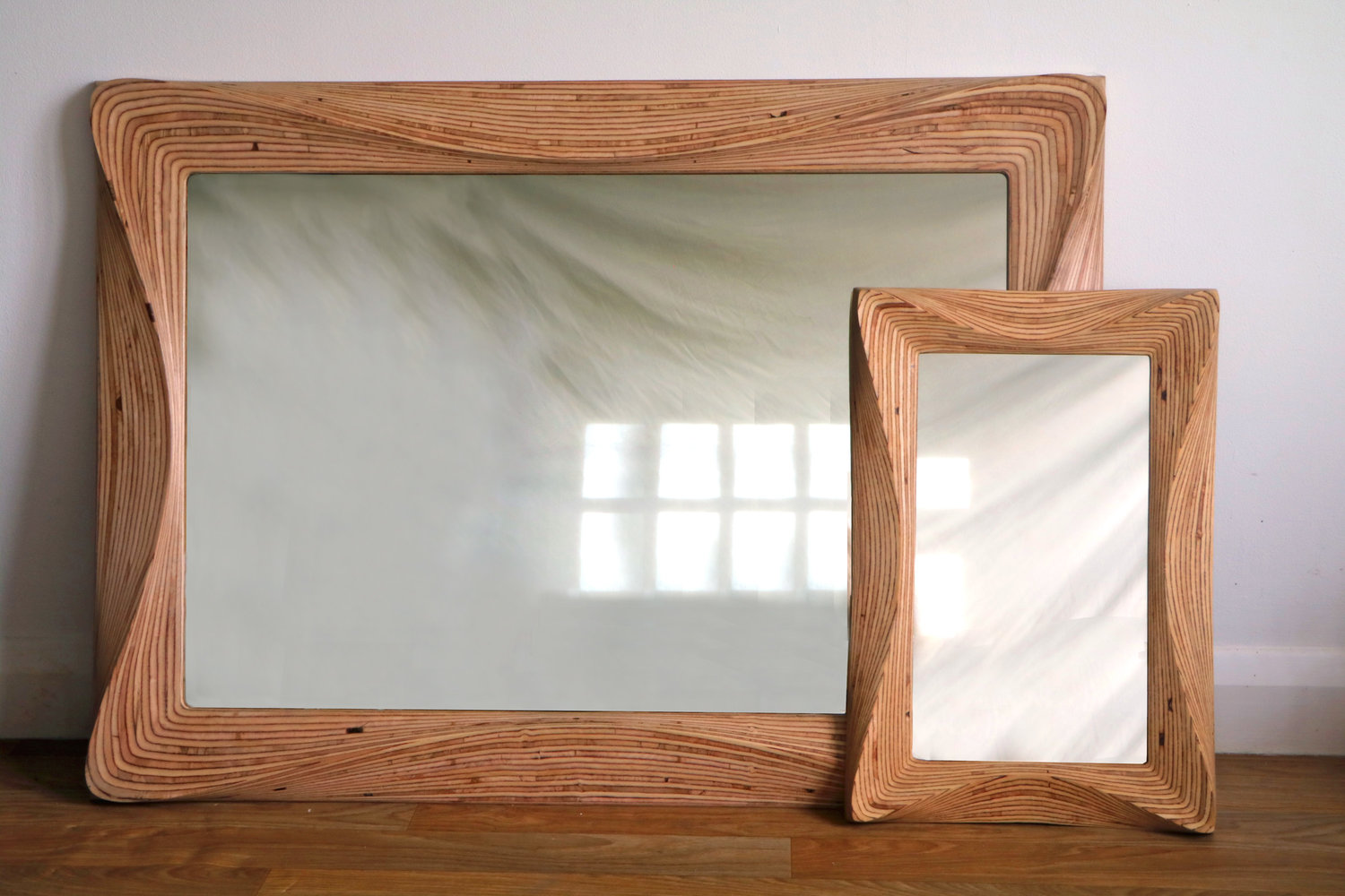 Large wooden wall hanging mirror by SurreyWoodsmiths