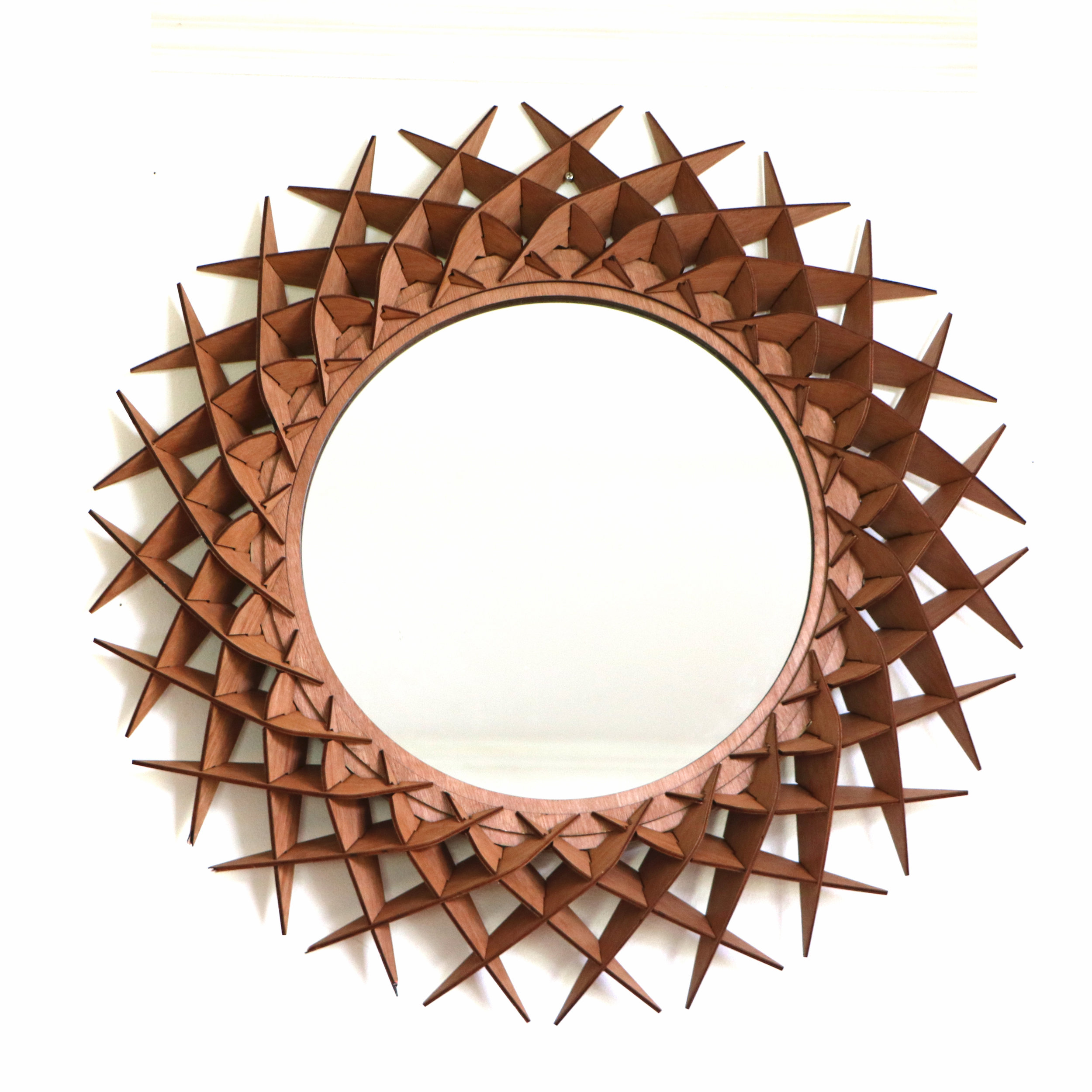 Round wooden mirror by SurreyWoodsmiths