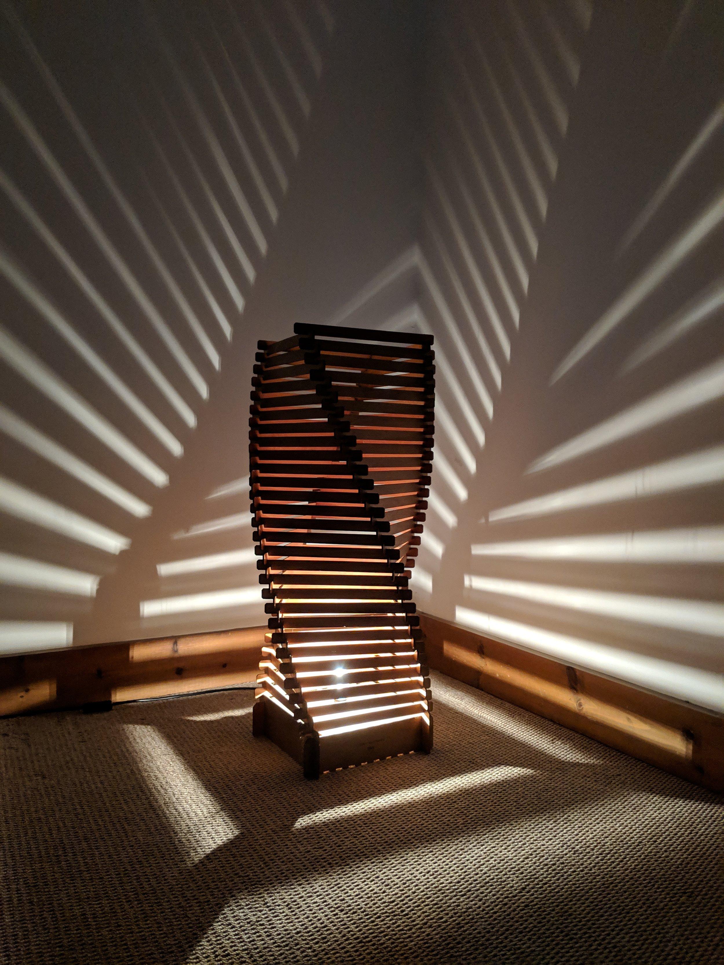 Wooden floor lamp by SurreyWoodsmiths