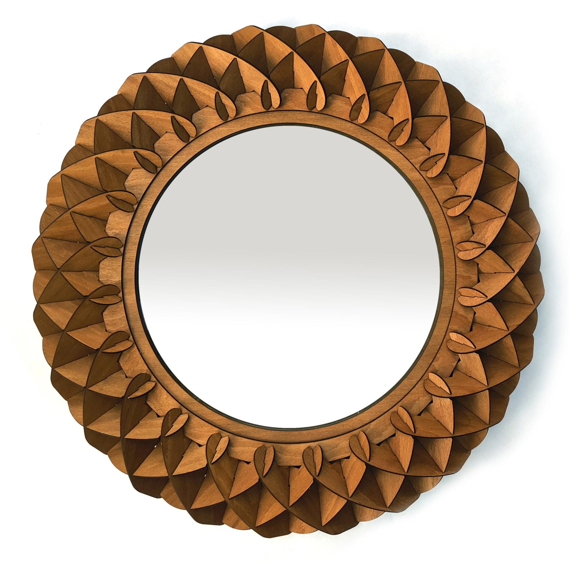 Round wooden mirror by SurreyWoodsmiths