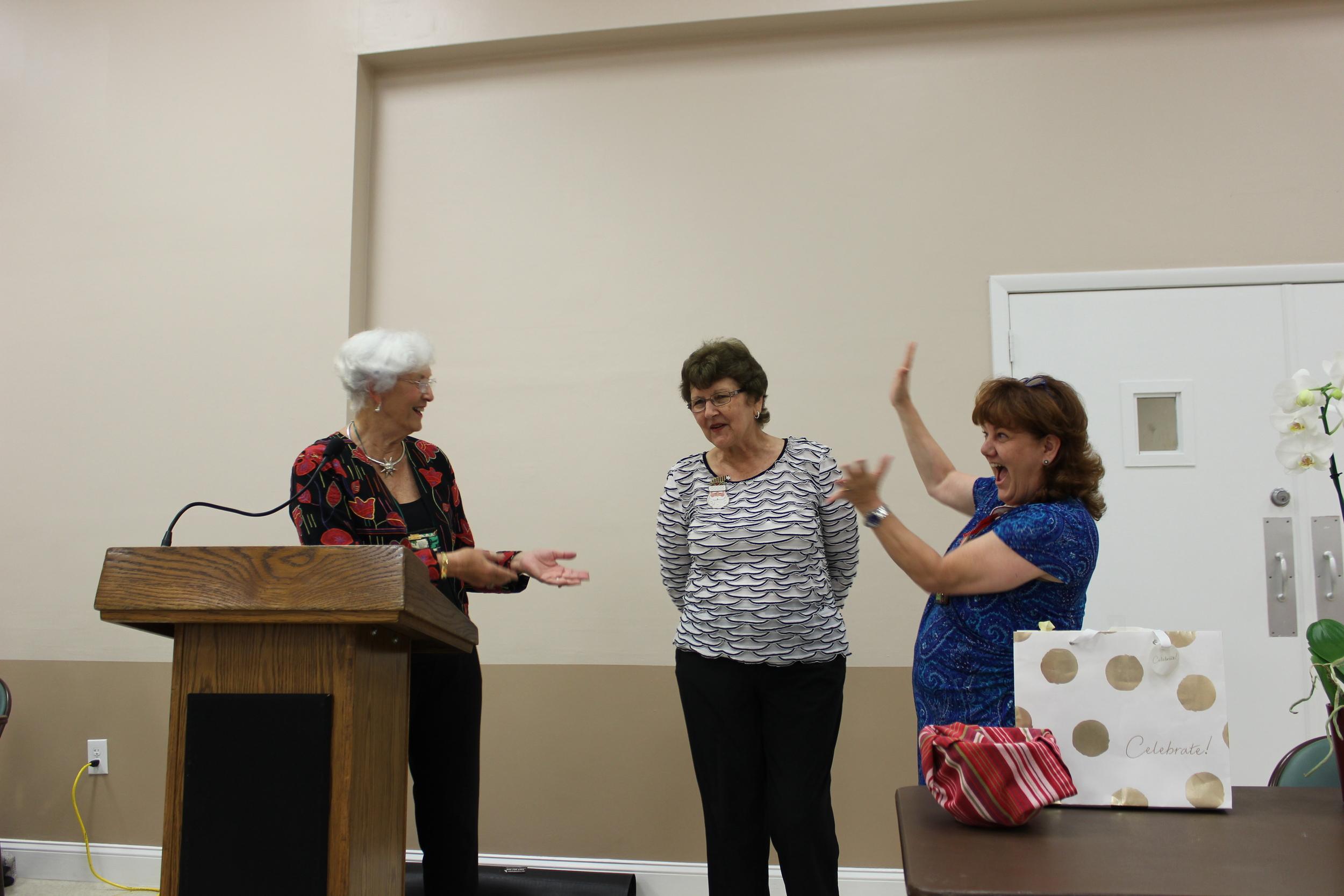 Jane Hill thanking Jean DeFrance.Tammie Clarke.jpg