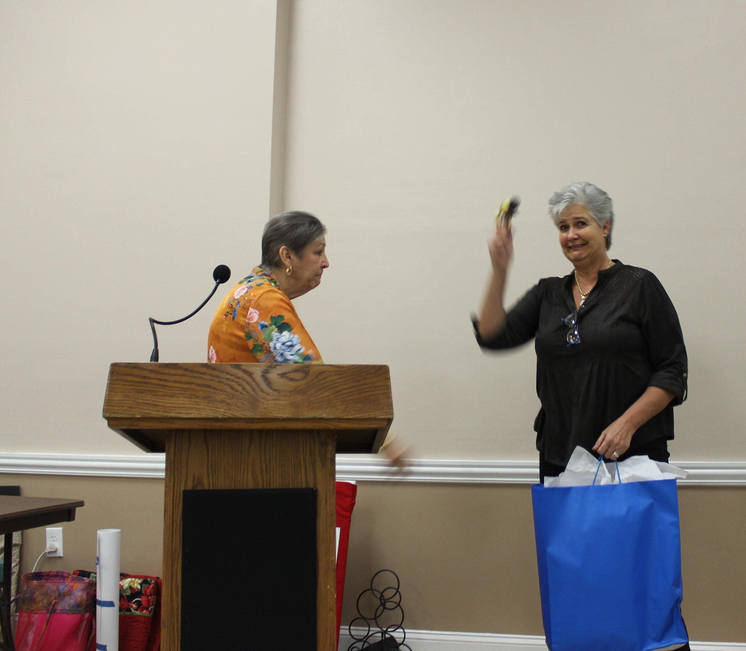 President Ilona Farnes accepting the gavel.JPG