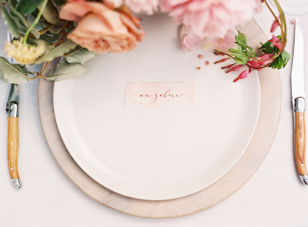 Calligraphy Place Setting Card - Pink Wedding Decor