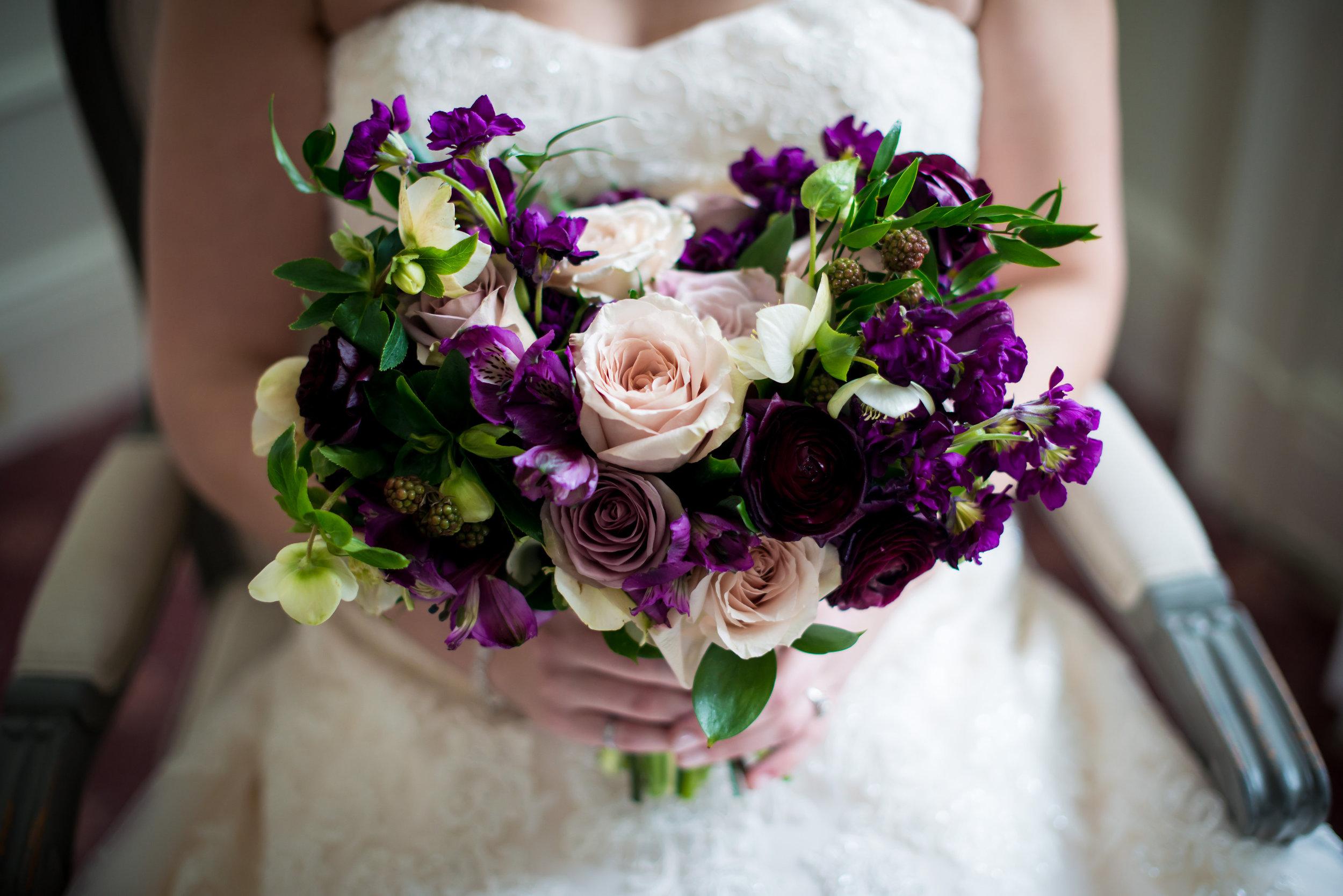 Plum and Blush Bridal Bouquet - Winnipeg Florist