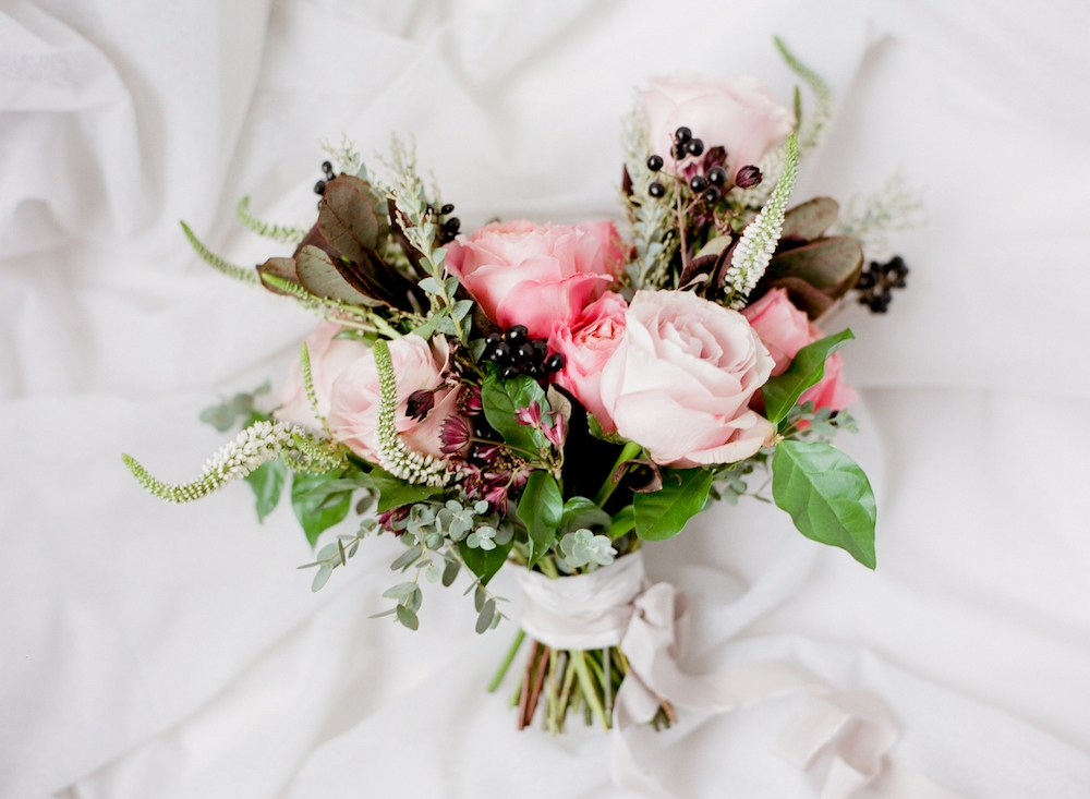 coral wedding flowers - stone house creative