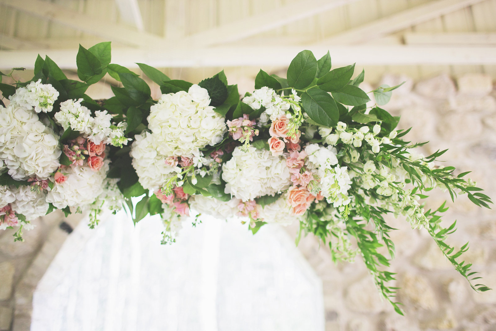 White and Peach Wedding Flowers - Wedding Ceremony Flowers