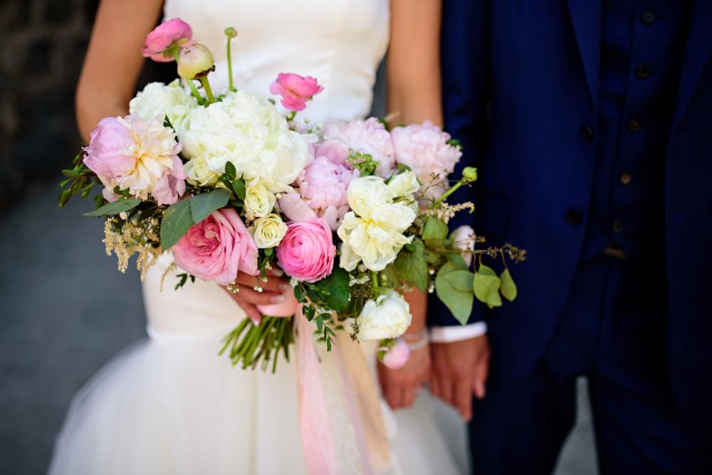 blush and white peony bridal bouquet - Winnipeg Wedding Florist