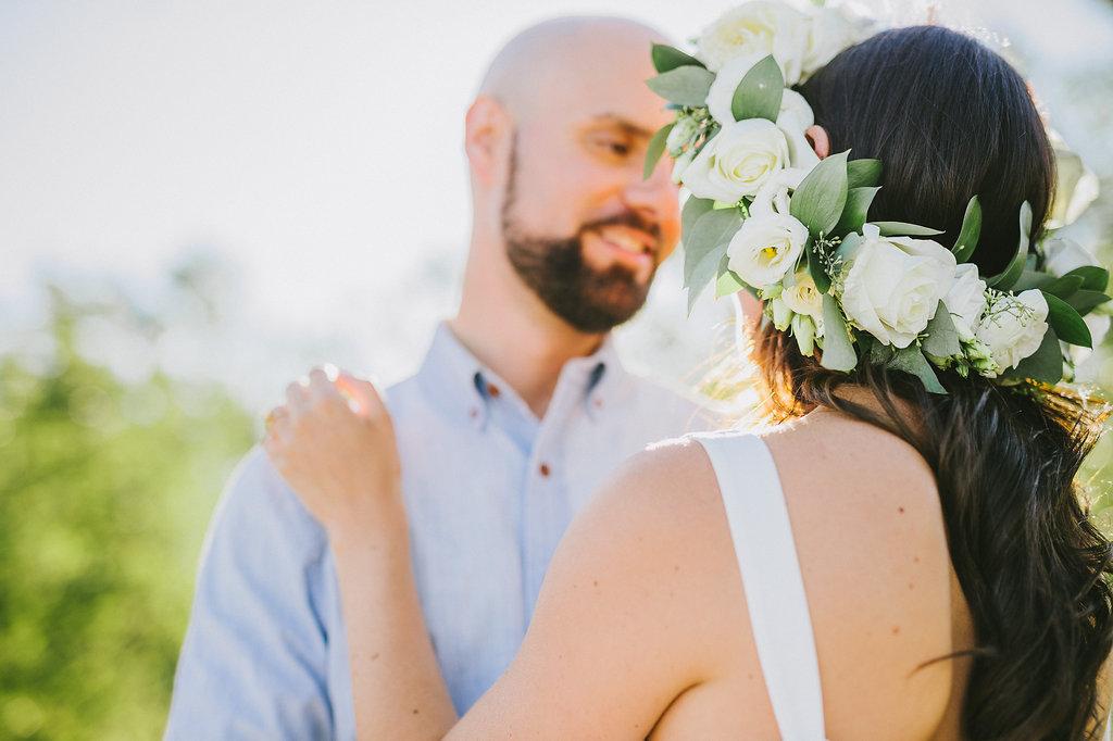 White Rose Flower Crown - Wedding Florist in Winnipeg