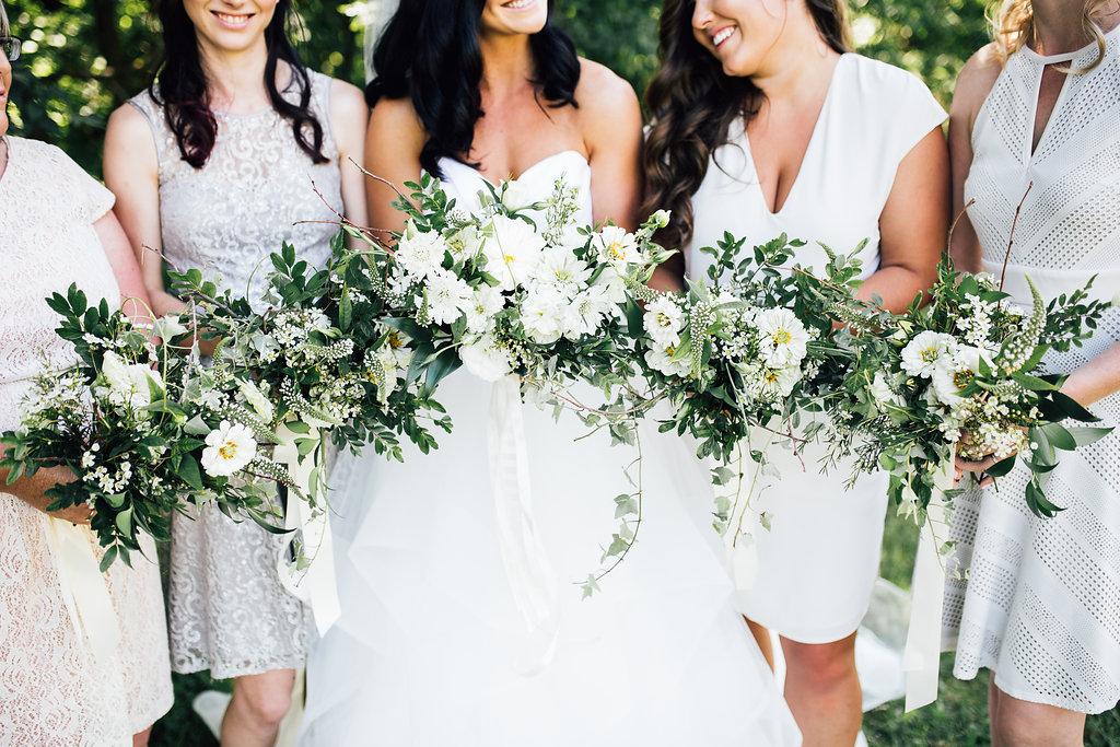 White Bridesmaid Dresses - White and Green Wedding