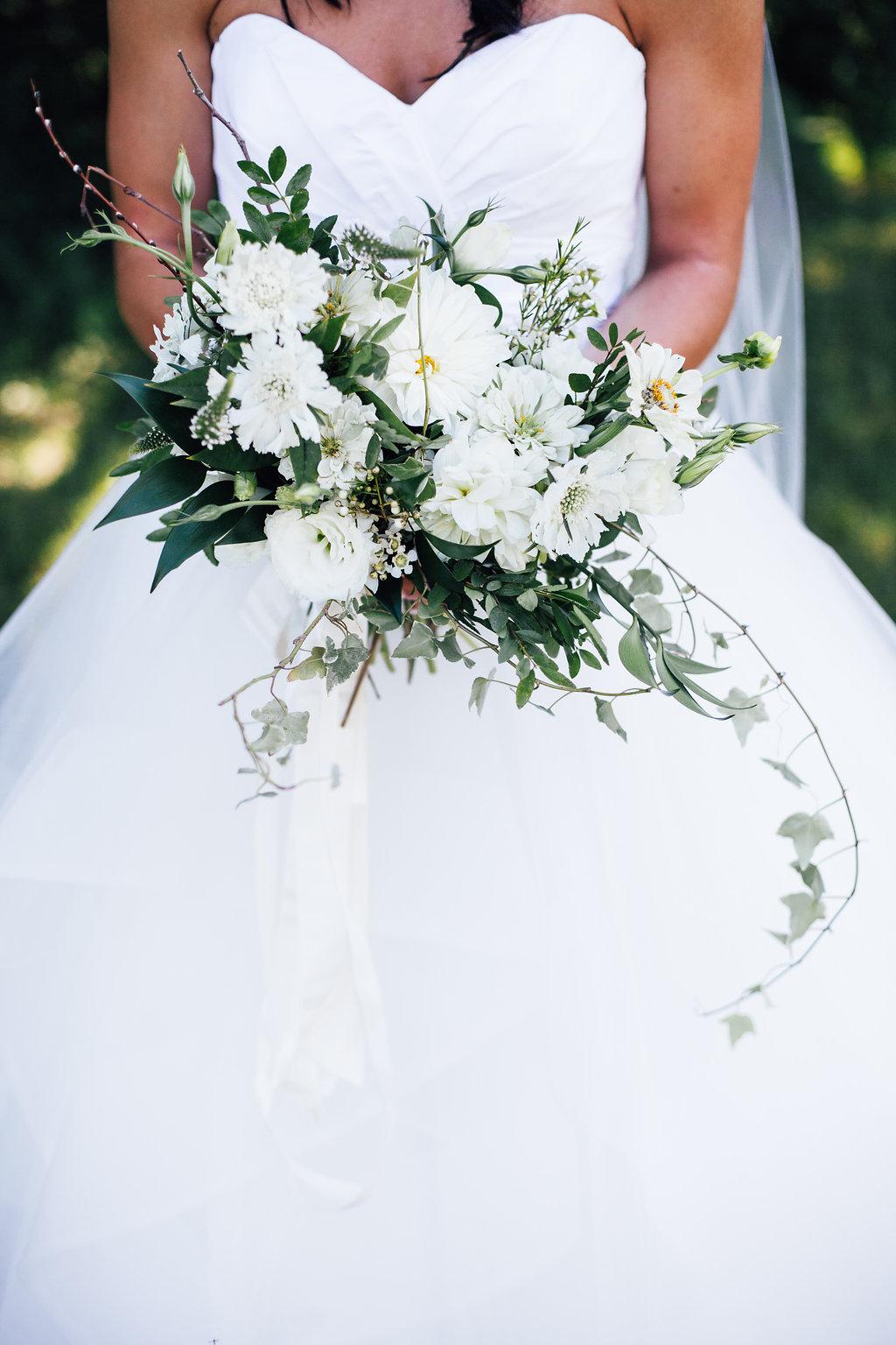 Rustic White Wedding Bouquet - Stone House Creative