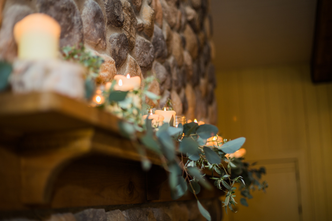 Rustic Wedding Flowers - Fireplace Mantel Flowers