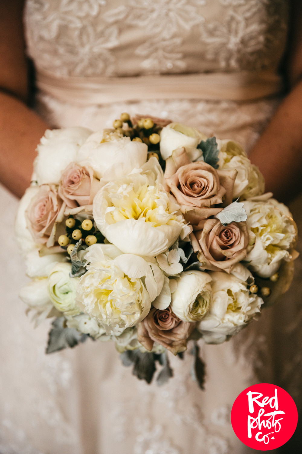 Cream and Pink Wedding Bouquet - Peony Bridal Bouquet