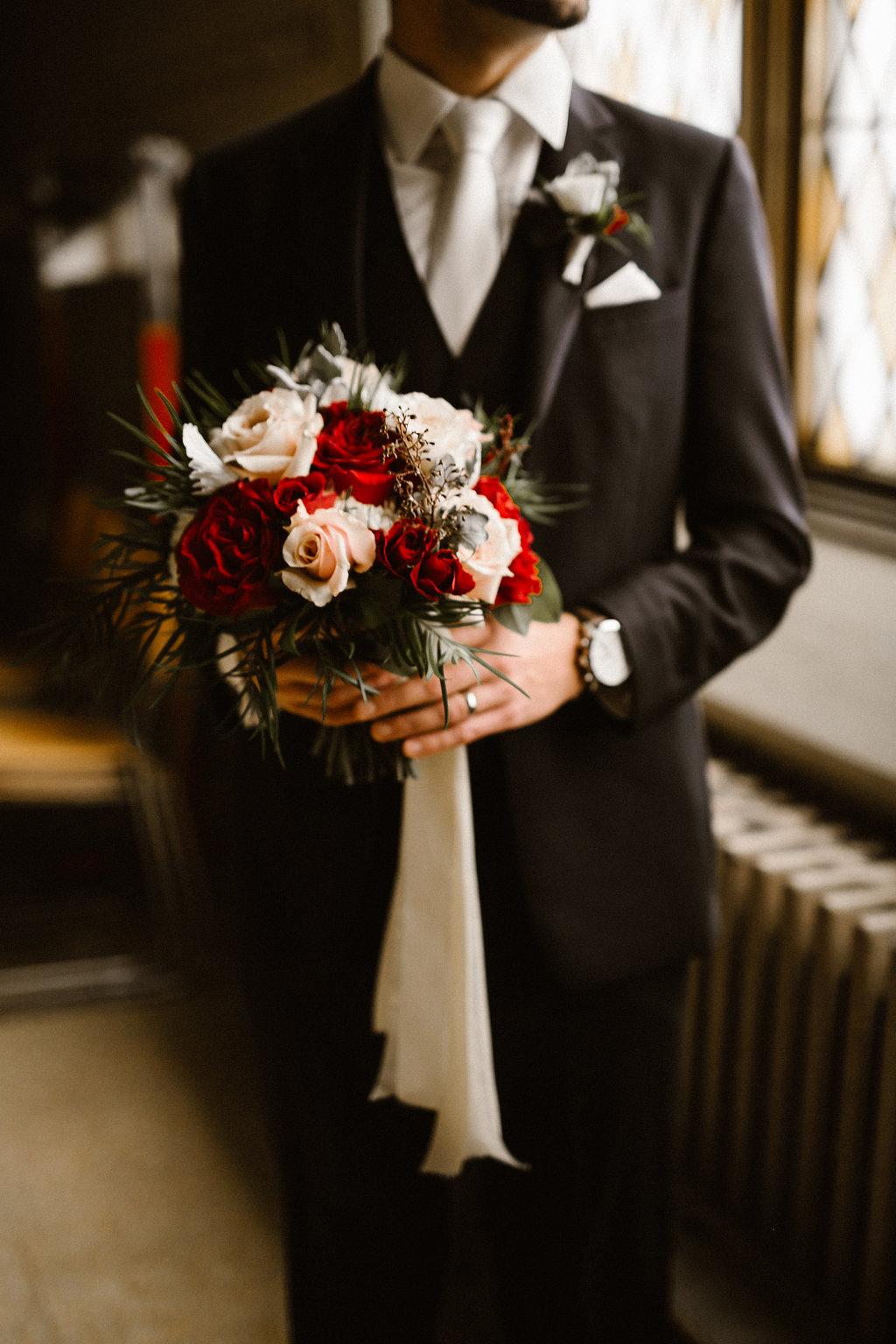 Burgundy Bridal Bouquet - Winnipeg Wedding Florists