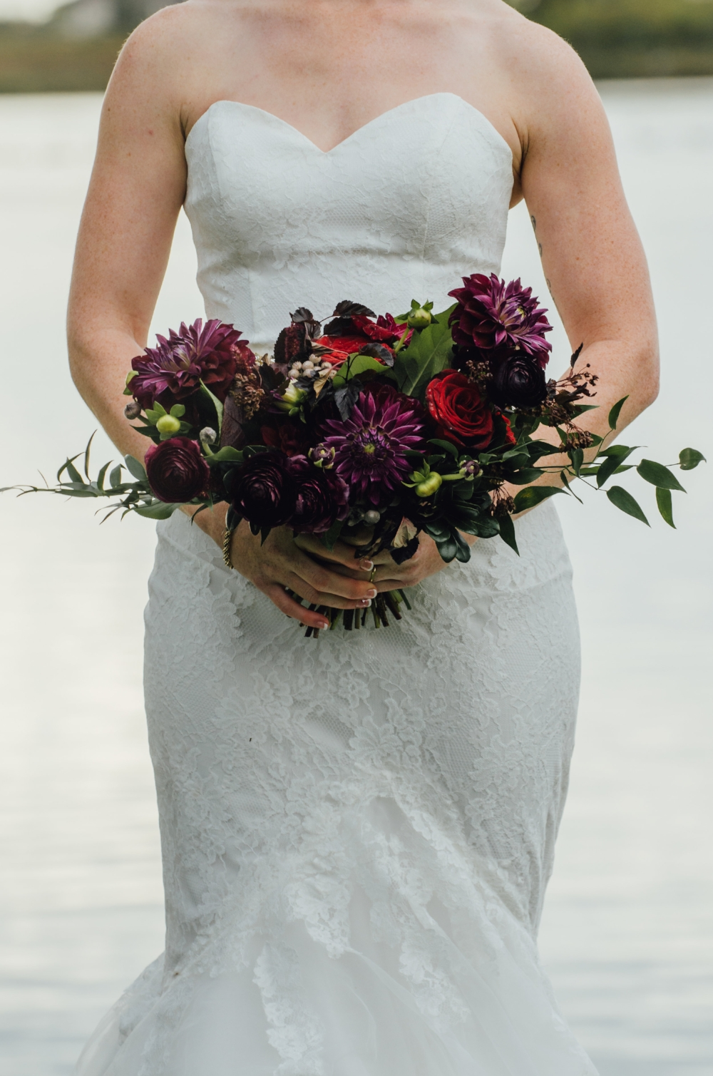 Plum Dahlia Bridal Bouquet - Winnipeg Wedding Florists