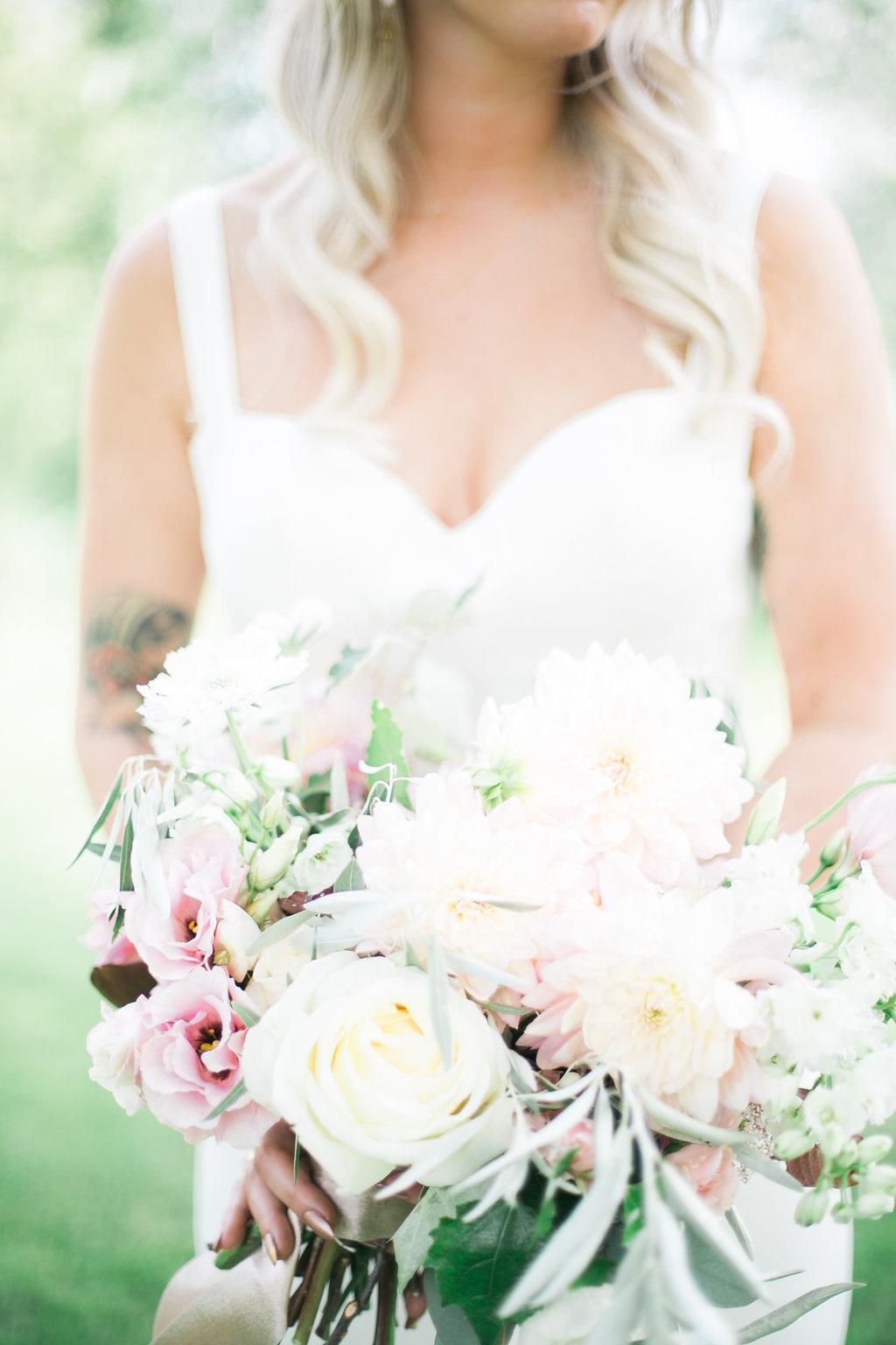 Blush and White Bridal Bouquet - Winnipeg Wedding Florists