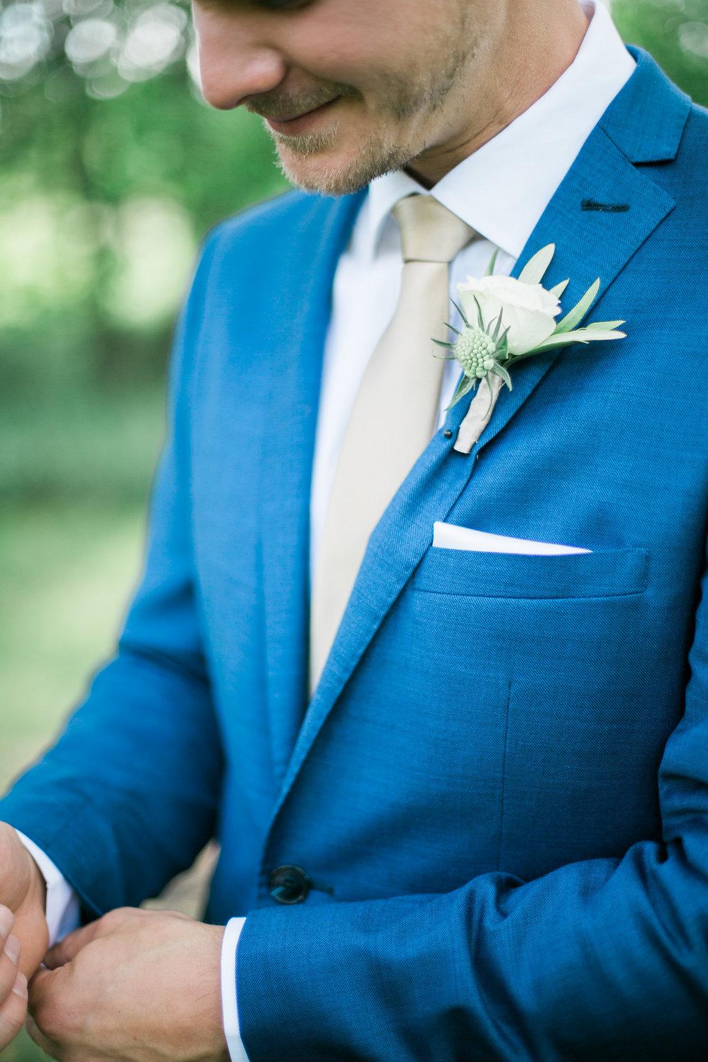 Blue Wedding Suit - Wedding Florists in Winnipeg