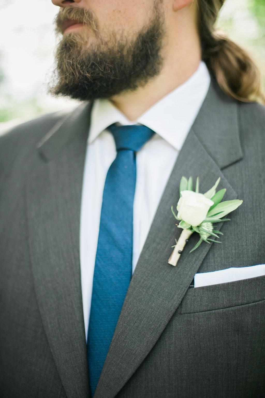 White Boutonniere - Wedding Flowers Winnipeg