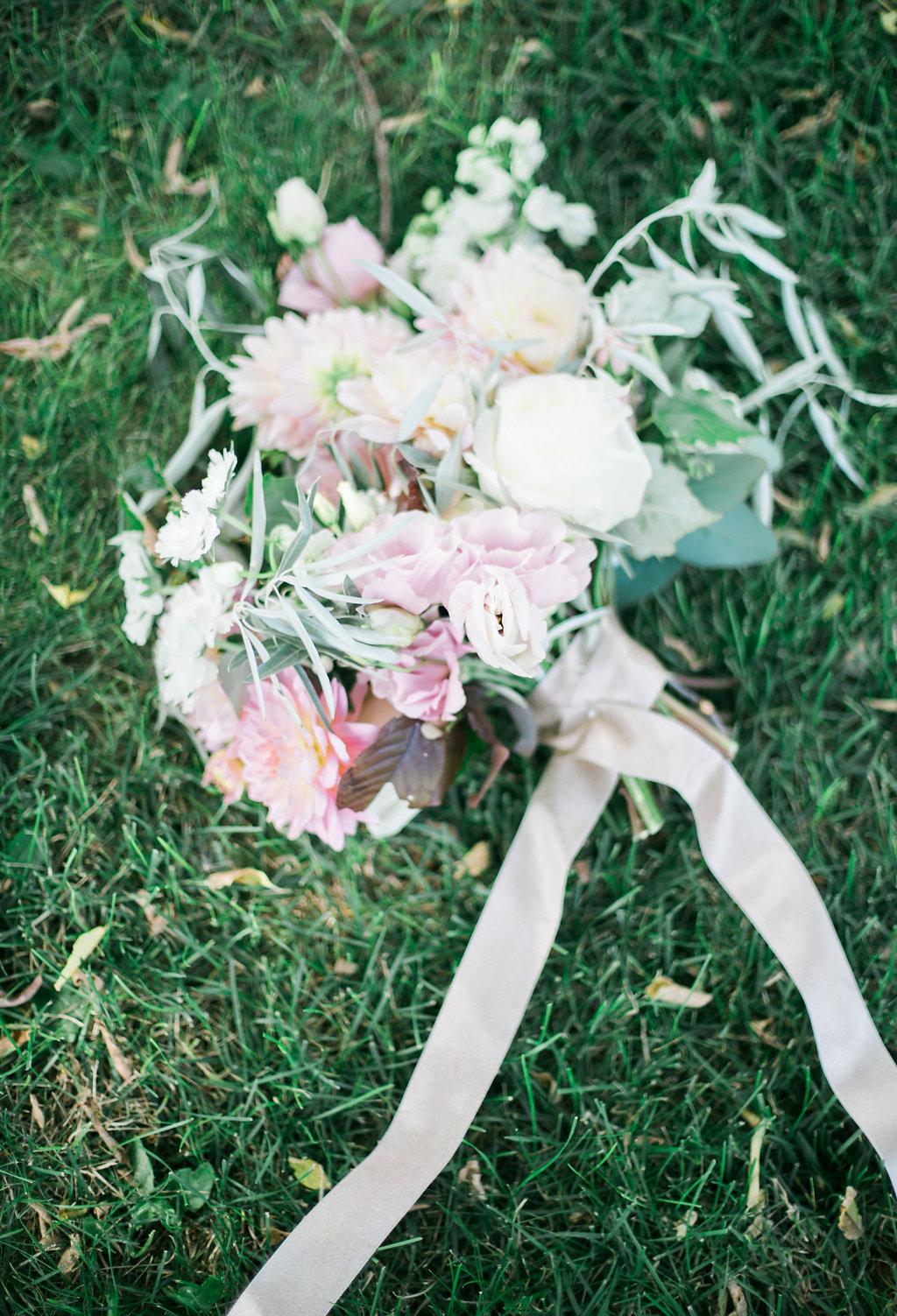 Blush Dahlia Bouquet - Wedding Florists in Winnipeg