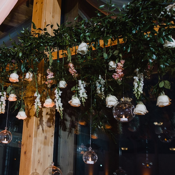 Hanging Flower Wedding Decor - Stone House Creative