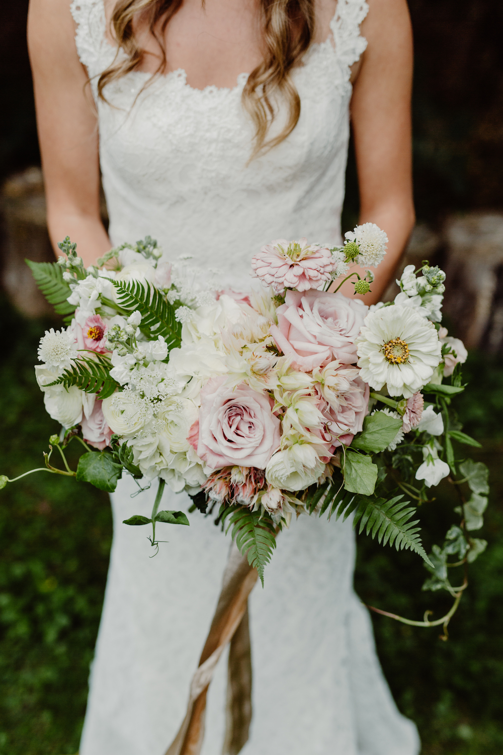Blush and White Bridal Bouquet - Stone house Creative