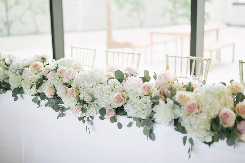Floral Garland for Wedding Head Table - Stone House Creative