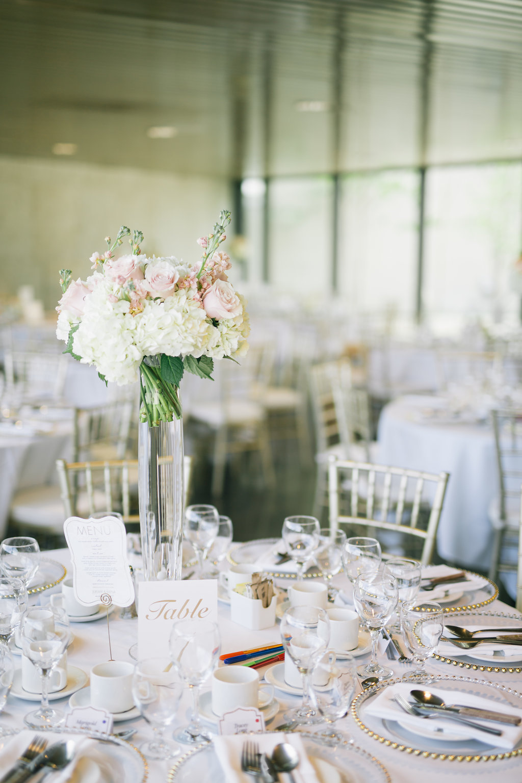 Tall Blush Wedding Centrepiece - Winnipeg Art Gallery Wedding