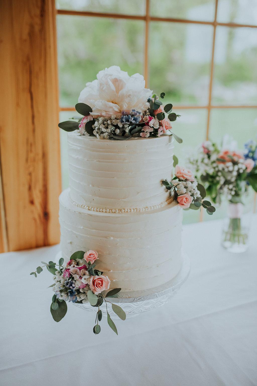 Buttercream Cake with Flowers - Wedding Florist Winnipeg
