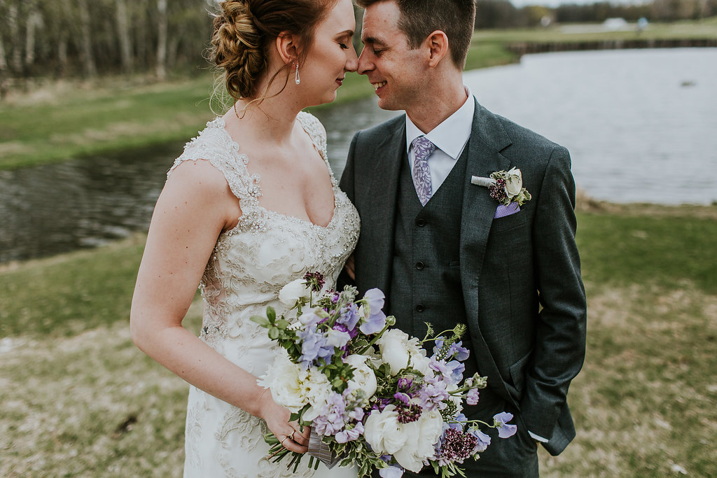 Purple and White Wedding Bouquet - Stone House Creative