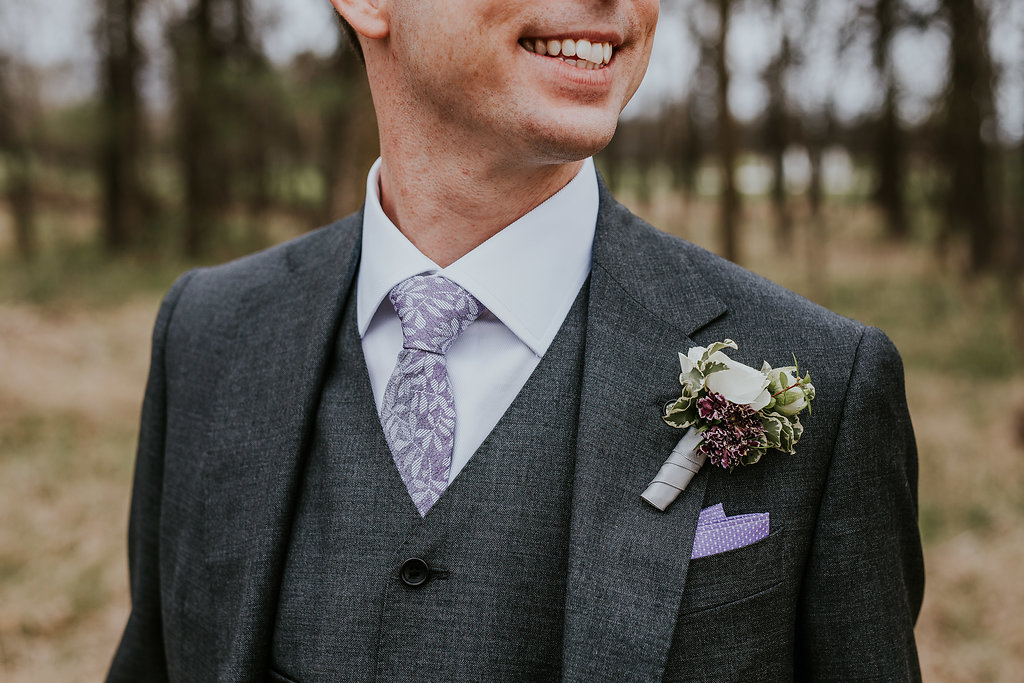 Purple and White Boutonniere - Wedding Flowers Winnipeg