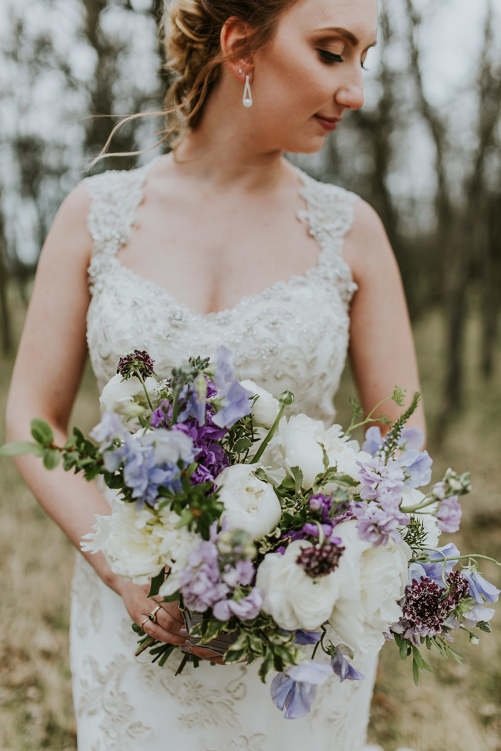 White and Purple Wedding Bouquet - Spring Wedding Flowers