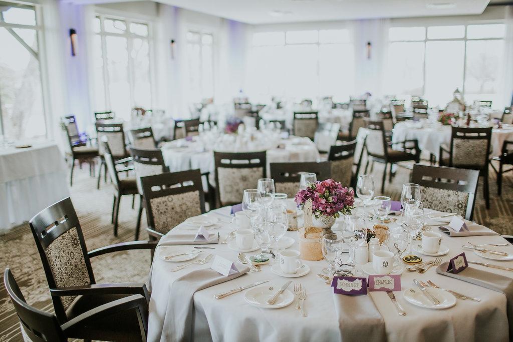 Purple Hydrangea Centrepiece - Wedding Florist in Winnipeg