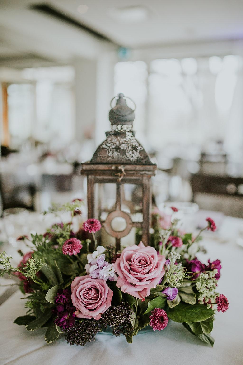 Lantern Wedding Centrepiece - Purple Wedding Flowers