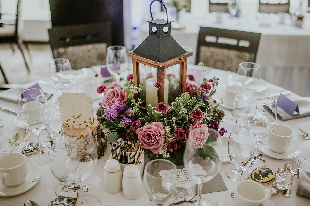 Floral Wreath Lantern Centrepieces - Wedding Flower Ideas