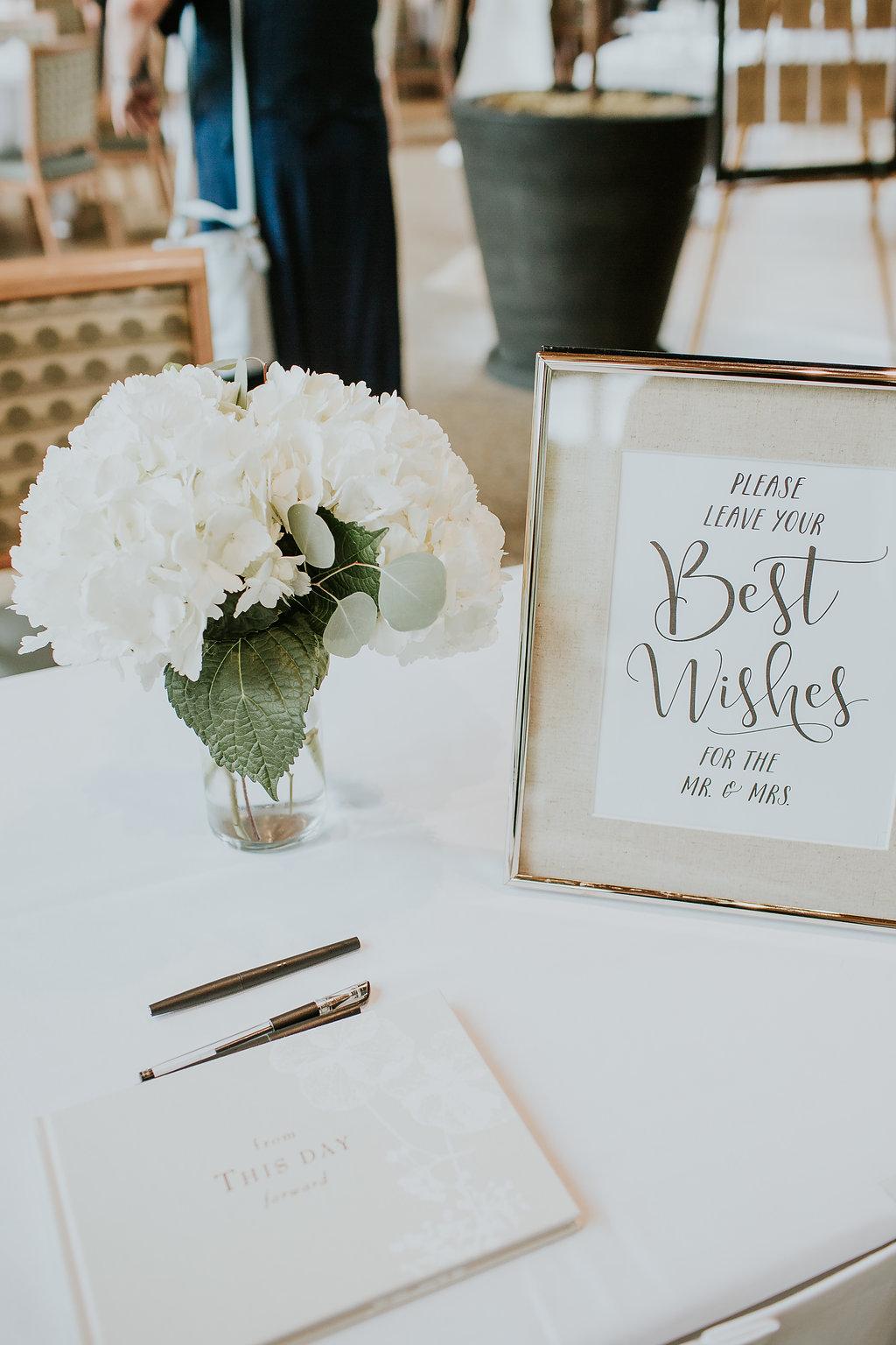 White Hydrangea centrepiece - simple wedding flowers