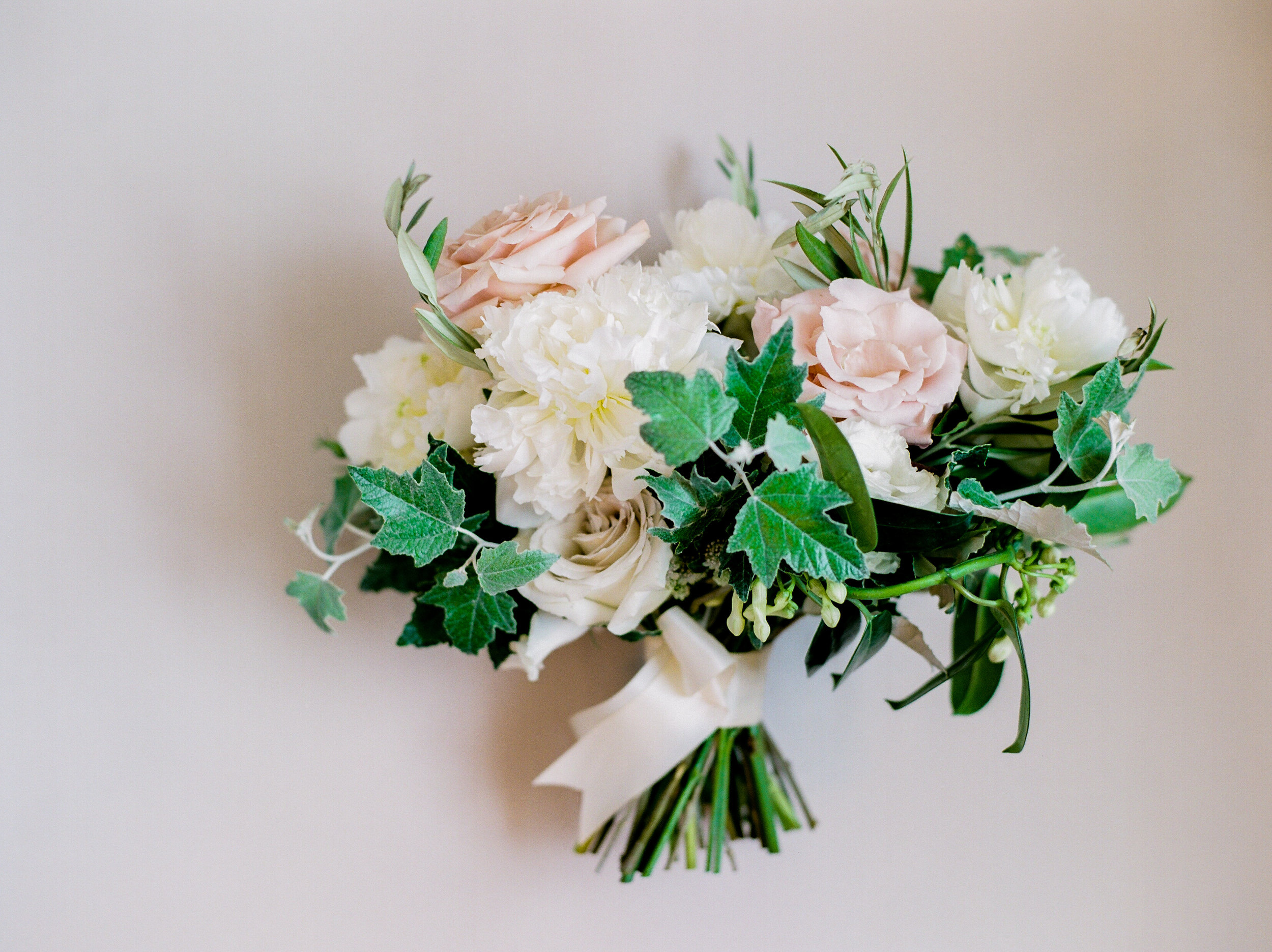 Blush and White Bridal Bouquet - Peony and Rose Bouquet