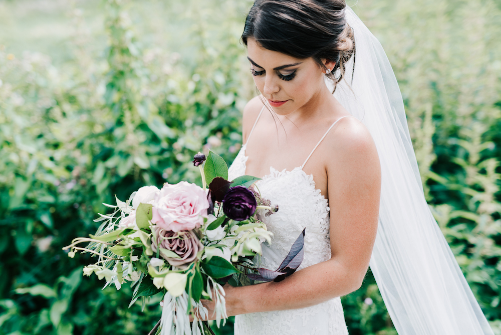 Plum and Blush Bridal Bouquet - Winnipeg Wedding Florist