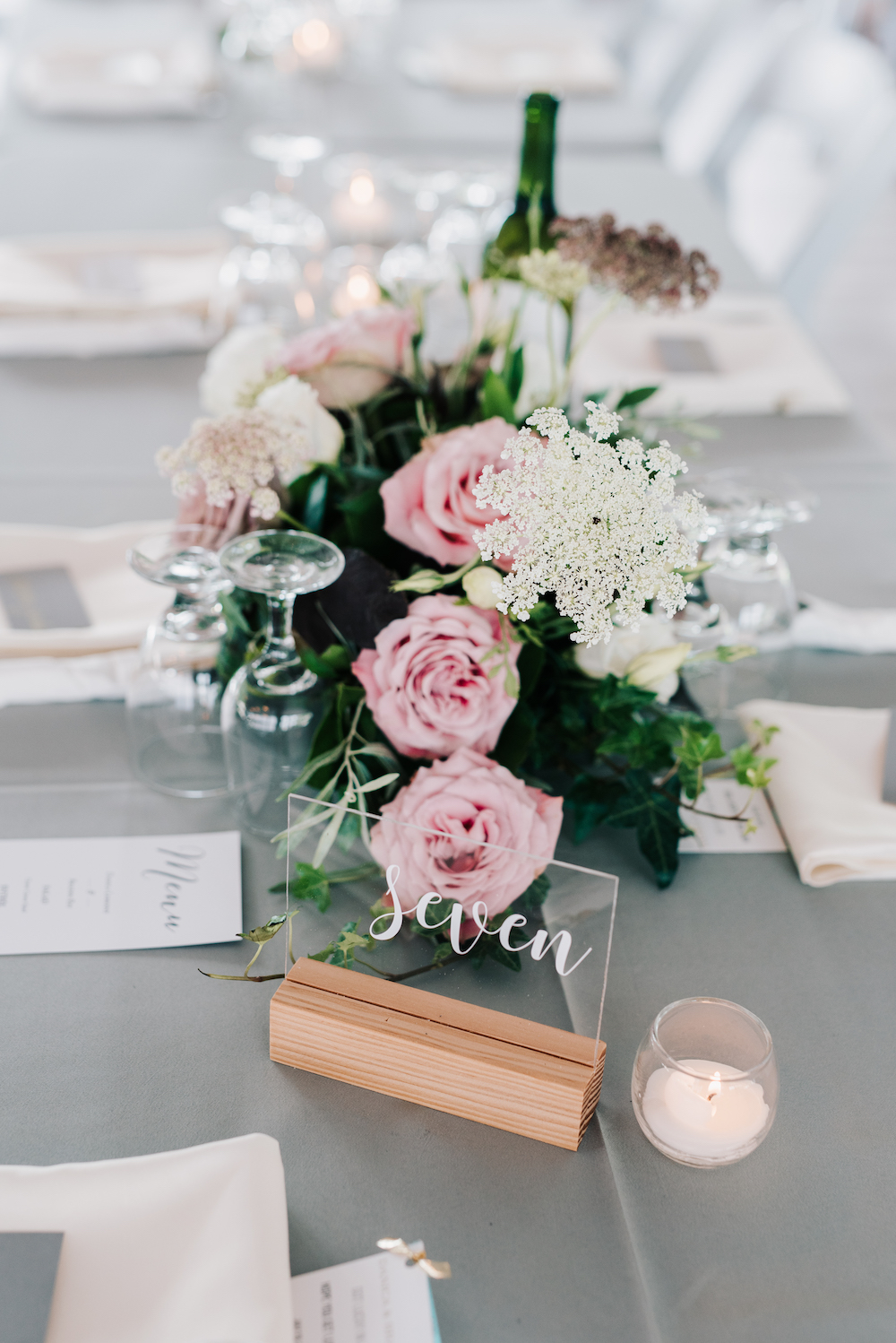 Blush and Burgundy Wedding Flowers - Wedding Centrepieces