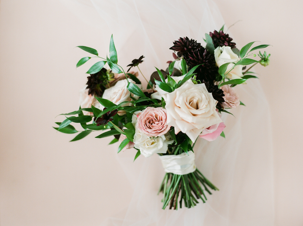 Blush and Burgundy Wedding Bouquet - Wedding Florist in Winnipeg