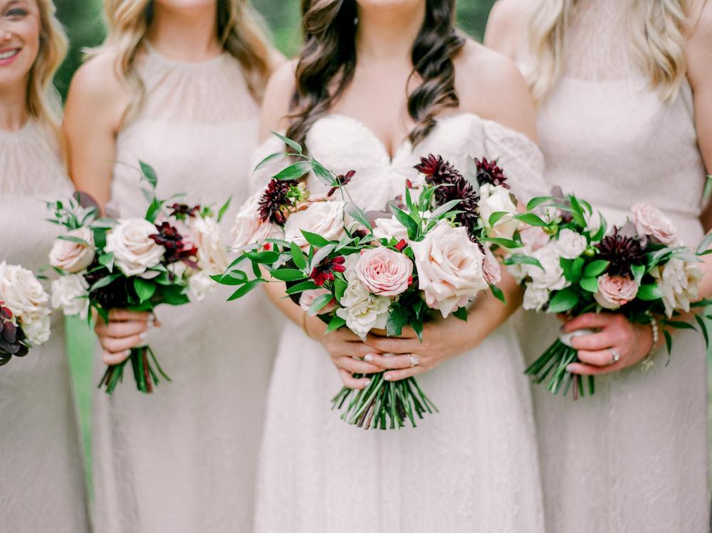 Blush and Burgundy Wedding Flowers - Stone House Creative