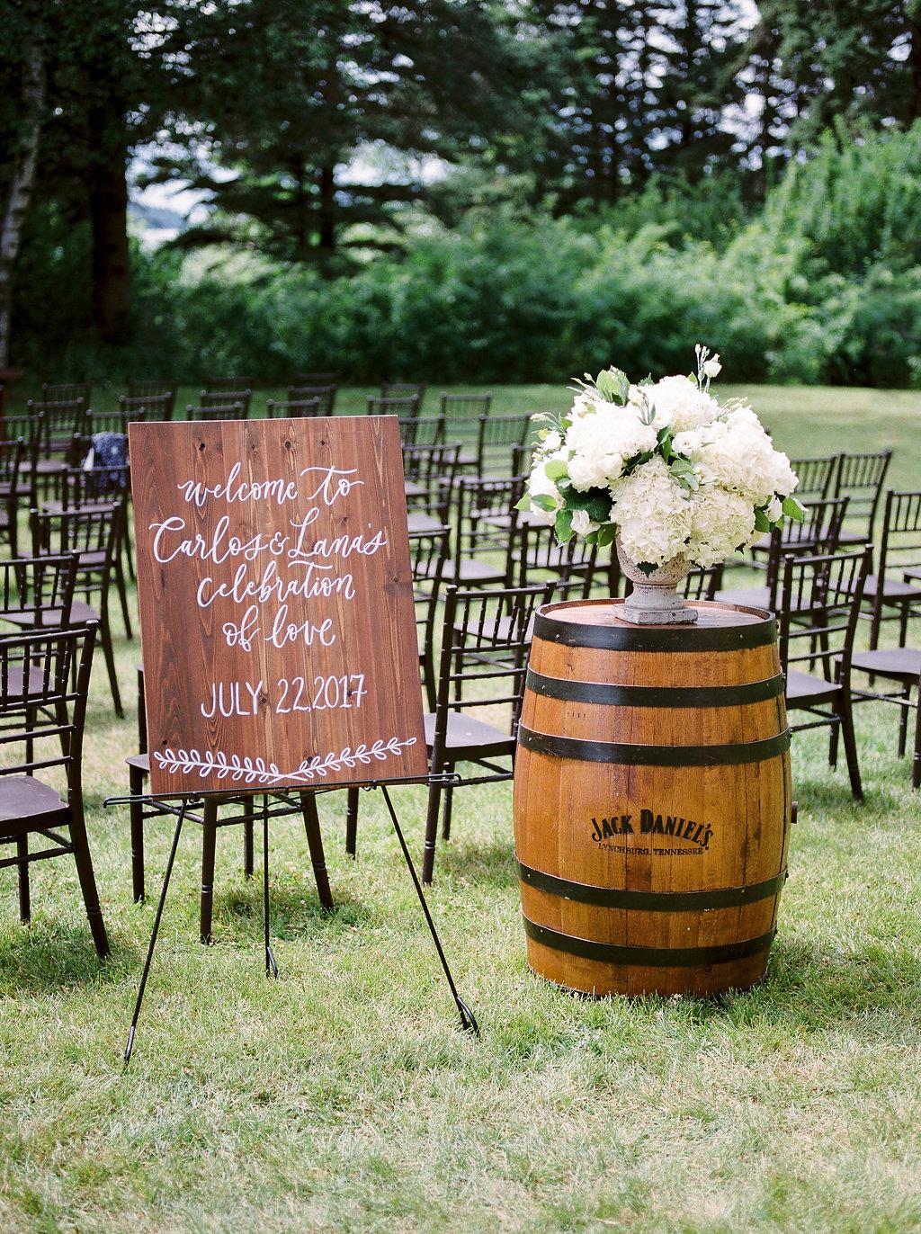 Hydrangea Wedding Ceremony Flowers - Elegant Outdoor Wedding