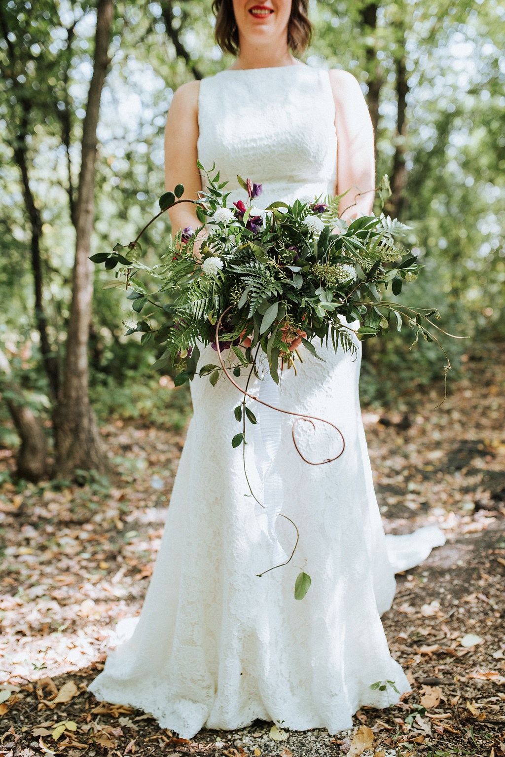 Textured Greenery Wedding Bouquet - Stone House Creative