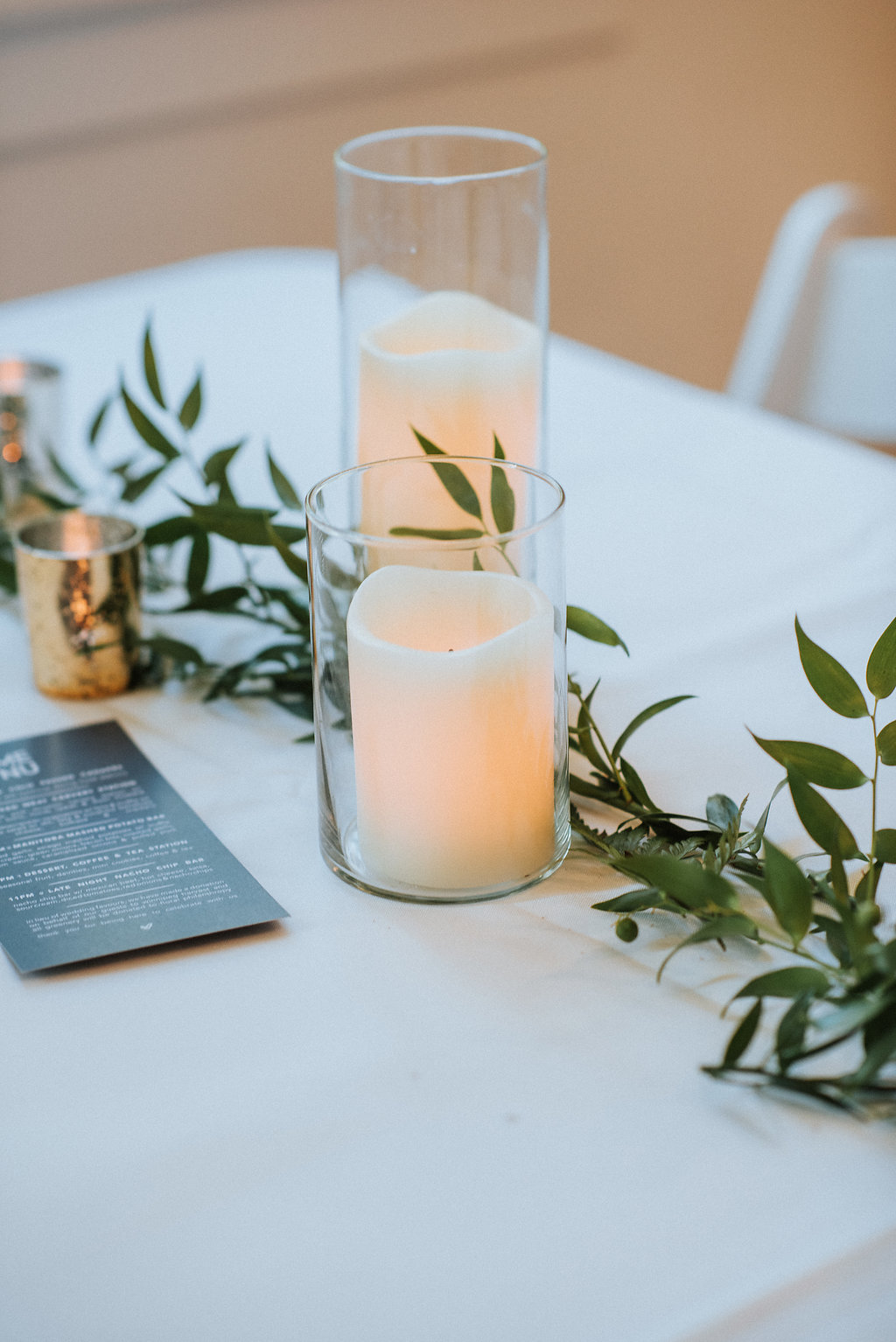Greenery and Candle Centrepiece - Budget Friendly Wedding Winnipeg