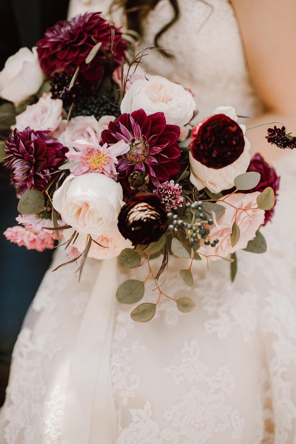 Peach and Plum Bridal Bouquet - STone House Creative