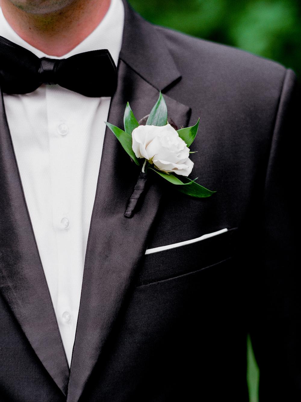 Classic White Boutonniere - Elegant Wedding Flowers