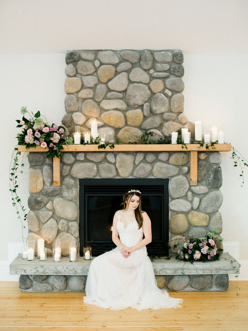 Wedding Fireplace Flower Arrangements - Whitetail Meadow Weddings