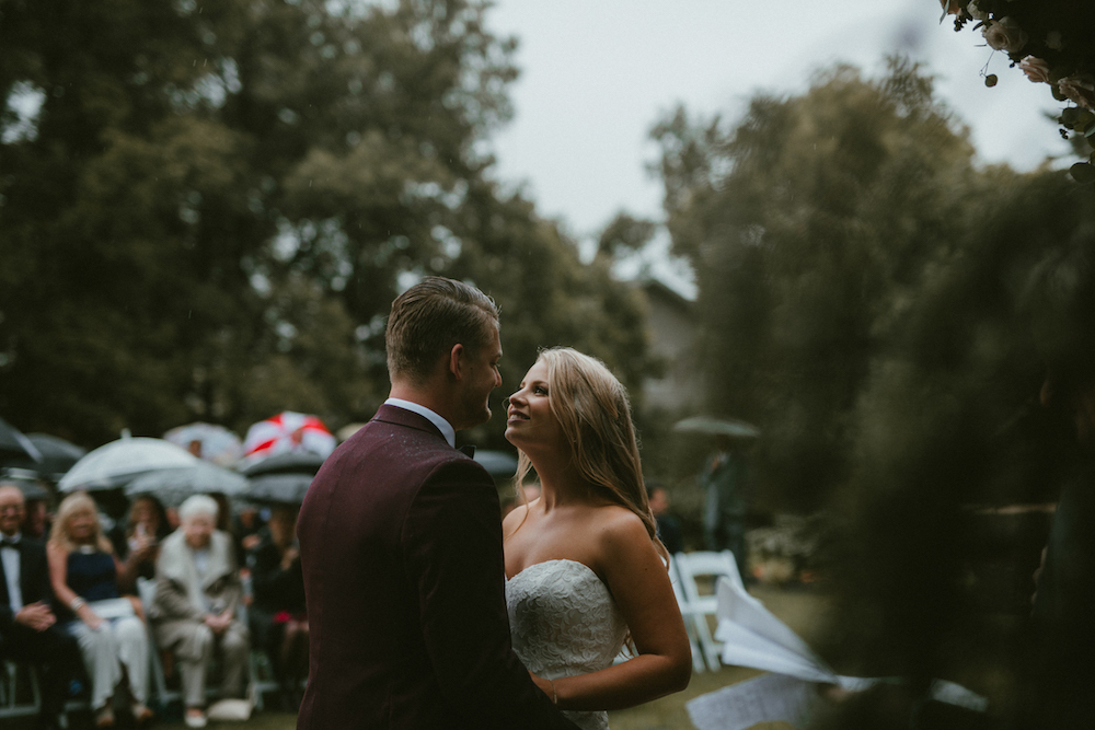 Rainy Wedding Ceremony Portraits - Ashgrove Acres