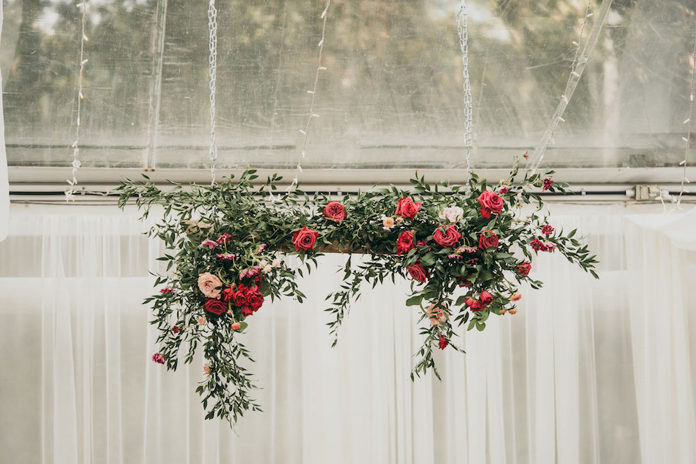 Head Table Floral Installation - Berry Toned Wedding Flowers