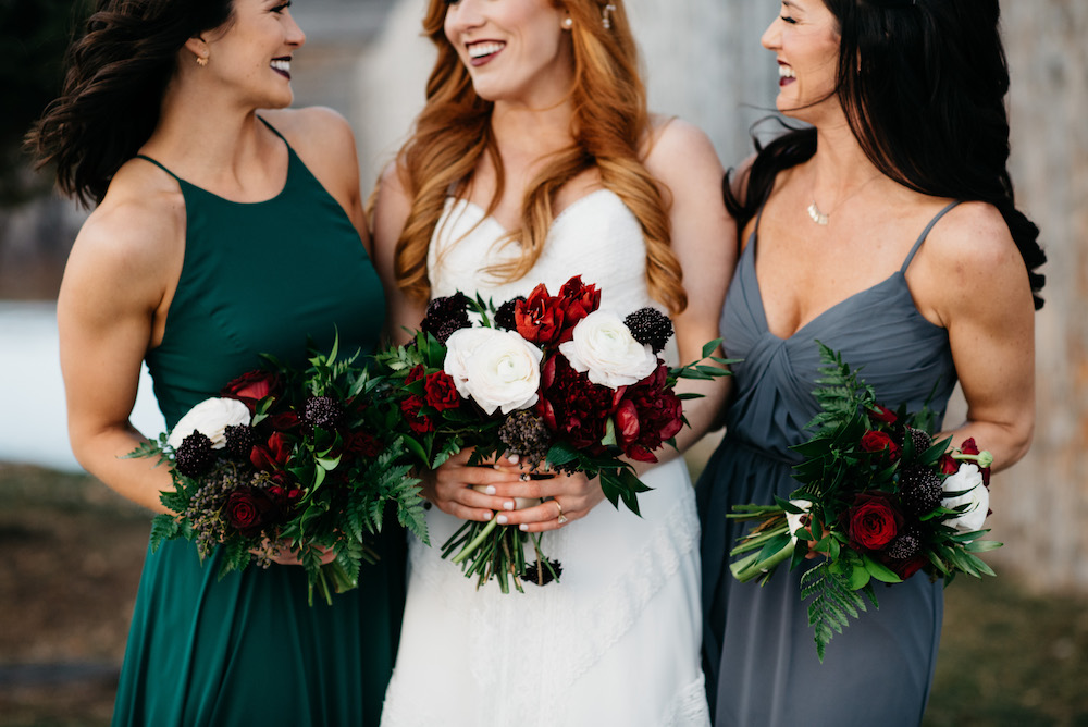Jewel-Tone-Bridesmaid-Bouquets - Winter Weddings in Winnipeg